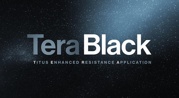 TeraBlack Logo on Space Scape Background
